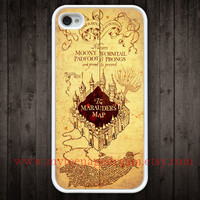 marauder's map iPhone 4 Case, white iphone 4s case, harry potter iphone 4 case, harry potter iphone cae