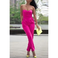 Sexy Strapless Off-The-Shoulder Solid Color Women's Jumpsuit | Kitty's Clawset