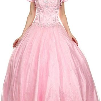 Long Strapless Corset Bodice Light Pink Tulle Ball Gown