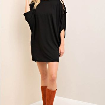 Dolman Lace-Up Detail Sleeve Dress