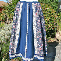 1970's skirt, peasant, prairie, floral print with lace, size medium