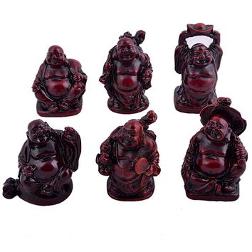 6 Small Buddha Figurines Feng Shui
