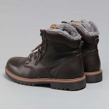 He Crafted Winter Snow Boots Super Warm Genuine Natural Leather Handmade Men Winter Shoes