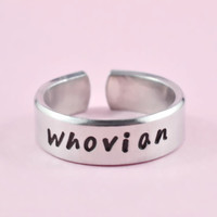 Whovian - Hand Stamped Aluminum Cuff Ring, Doctor Who Fans Ring, Best Gift Ring