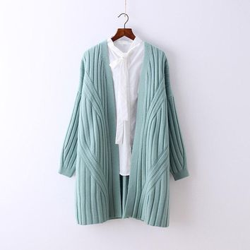 Women Autumn Winter Knitwear Solid Color Sweaters Ladies Loose Knitted Coat Outwear Female Cute Cardigans Overcoat Knitting