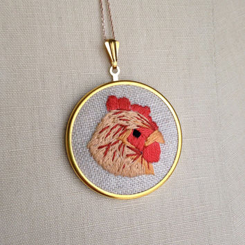 Embroidered Bird Necklace Chicken Embroidery Pendant or Brooch