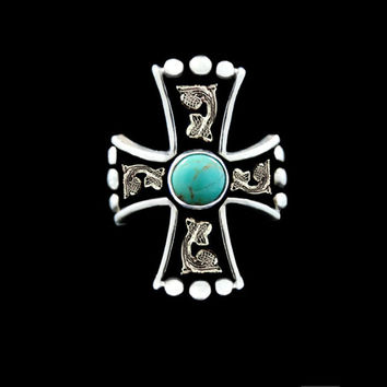 Western Turquoise Cross Ring w/ Antique - Hyo Silver