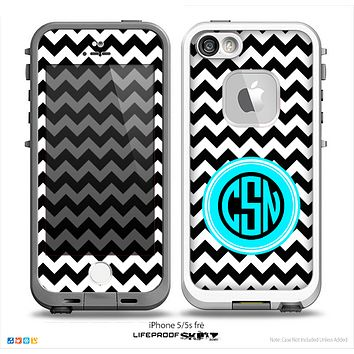 The Black & White Chevron Turquoise Circle Monogram Name Script Skin for the iPhone 5-5s Fre LifeProof Case
