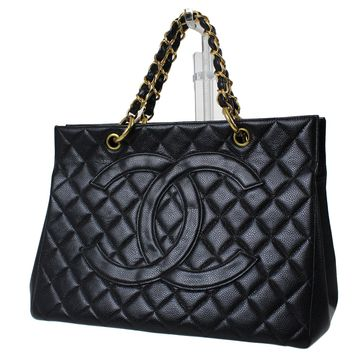 CHANEL Matelasse Quilted Chain Hand Bag Black Leather Vintage Authentic #E253 M