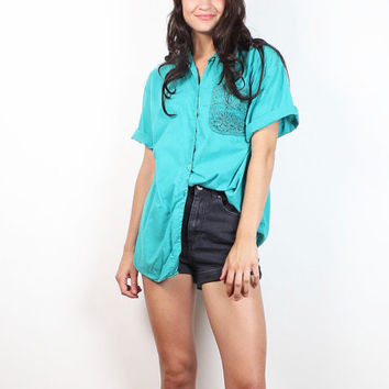 Vintage 80s LACE Pocket Teal Green Button Down Top CUT OUT Embroidery Backless Blouse 1980s Forenza Mod New Wave Collared Shirt M Medium L