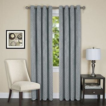 Lorraine Set of 2 Room Darkening Energy Efficient Blackout Curtain Panels (52 inch  x 84 inch ) with 8 Grommets - Blue
