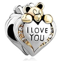 Inspired Charm Sterling Silver I Love You Bear Bead Fits Pandora Charm