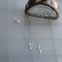 Skinny Cross Earrings - Skinny Cross Dusters - Long cross earrings