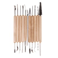11pcs Clay Sculpting Sculpt Smoothing Wax Carving Pottery Ceramic Tools Polymer Shapers Modeling Carved  Tool  Wood Handle Set