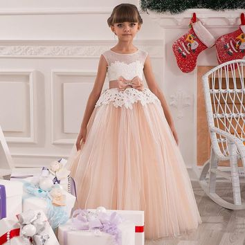 Children bridesmaid flower girl wedding dress fluffy ball gown USA birthday evening prom cloth tutu party dress