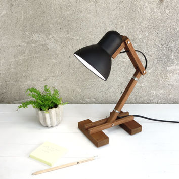 The Mehanik, adjustable wooden desk working wood lime metal shade round pixar geometric lamp minimal black simple design minimalist Paladim