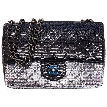Chanel NEW IN BOX 2015 Black and Silver Ombre Sequin Flap Bag