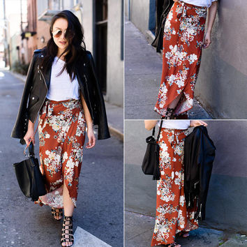Women's Fashion Floral Print Irregular Skirt Dress [9819013773]