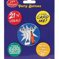 21st Birthday Party Buttons - Pack Of 5