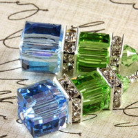 Aquamarine and Peridot Crystal Earrings, Swarovski, Stacked Cubes, Sterling Silver