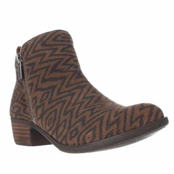 Lucky Brand Basel Side Zip Ankle Boots, Dark Earth, 6 US / 36 EU