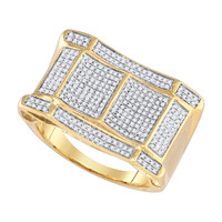 Diamond Micro Pave Mens Ring in 10k Gold 0.8 ctw