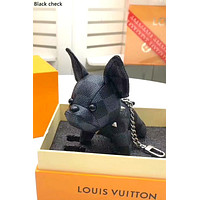 Free shipping-LV Tide brand personality law dog key chain car decoration bag pendant Black check