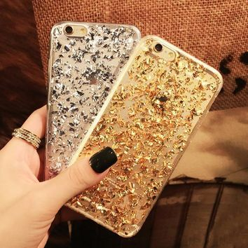 Case Cover for iPhone Gold Foil Paillette Clear Soft ne 5 5S 6 7