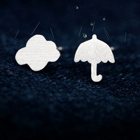 The fair maiden fresh clouds and small umbrella 925 sterling silver earrings,a perfect gift