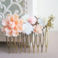 Peach Wedding Hair Comb Pastel Pink Bridal Flower Comb Bridesmaids Gift Set Head Piece Blush Floral Comb Shabby Chic Soft Romance