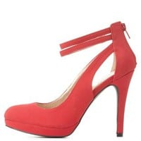 Qupid Double Ankle Strap Pumps by
