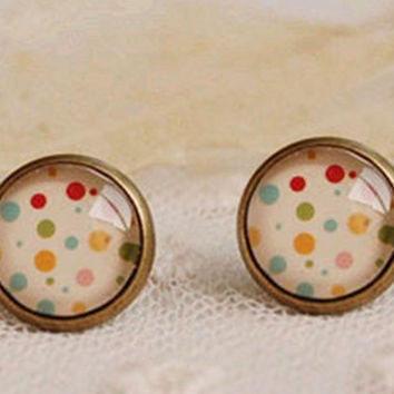 Dotty Copper and Glass Stud Earrings, Ilustrated Dotty studs