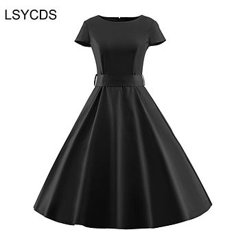 Elegant Black Dresses O Neck Short Sleeve Robe Gown Big Swing Retro Casual Party Rockabilly 50s 60s Vintage Women Clothing