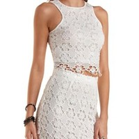White Floral Crochet Racer Front Crop Top by Charlotte Russe