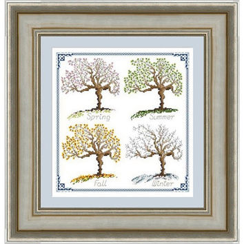 Seasons -  PDF Cross Stitch Pattern - INSTANT DOWNLOAD