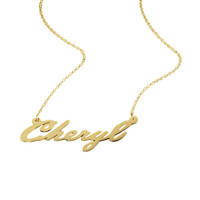 Personalized Italic Cursive Name Plate Necklace
