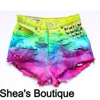 The Mermaid Ombre Shorts With Studs by SheaBoutique on Etsy