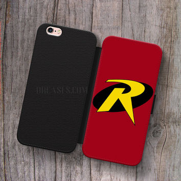 Wallet Leather Case for iPhone 4s 5s 5C SE 6S Plus Case, Samsung S3 S4 S5 S6 S7 Edge Note 3 4 5 Robin Logo Cases