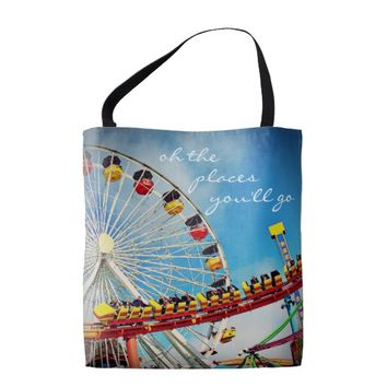 """Places"" quote ferris wheel coaster photo tote bag"