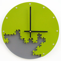 Puzzle Wall Clock III (Eden Green & Granite) Custom Colors Available