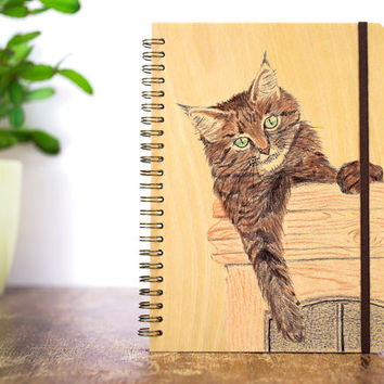 Personalized Journal, Your Pet Portrait Journal, Pet Notebook Portrait Notebook Wooden Notebook Pet Painting Animal Portrait Animal Painting