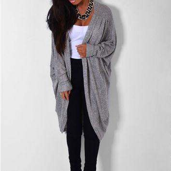 Veloce Grey Metallic Cocoon Cardigan | Pink Boutique