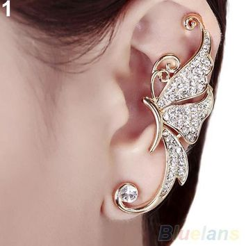 Bluelans 1pc Shiny Womens Butterfly Wings Shape Left Ear Clip Clamp Earrings 1U4E