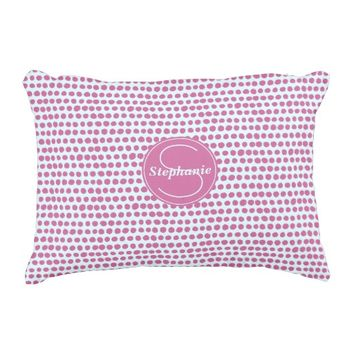 Modern Purple Polka Dot Monogrammed Decorative Pillow