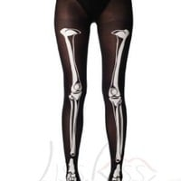 Halloween skeleton - Black Opaque Printed Pantyhose (Tights)