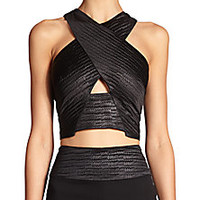 L'AGENCE - Cutout Crossover-Front Woven Cropped Top - Saks Fifth Avenue Mobile