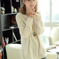 L 071303 Beige Loose bat sleeve Hollow Sweater from cassie2013