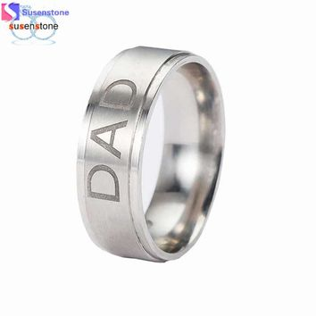 Stainless Steel Dad Ring Engraved Love You Dad Men's Ring Jewelry