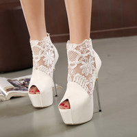 Drop shipping 2016 summer black and white sexy lace high heels shoes for party thin heels platform pumps women plus size 35-40