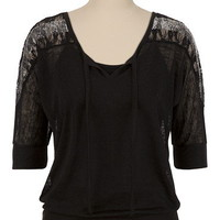 Sequin Lace Split Neck Top